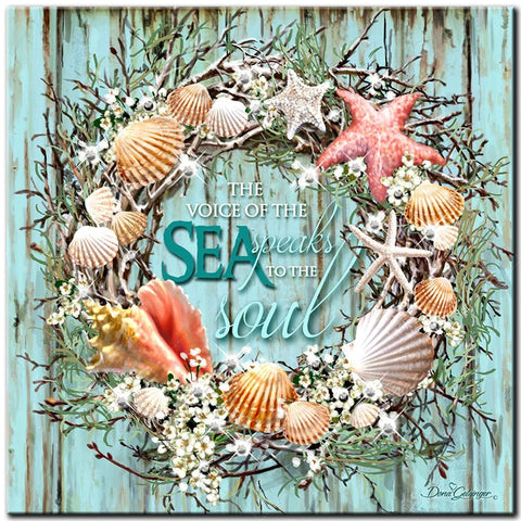 Beach Life Wreath Diamond Painting Kit, | DIY 5D Full Square/Round Drill Rhinestone Diamond Painting Cross-Stitch Art -Diamond Painting Kits, Diamond Paintings Store