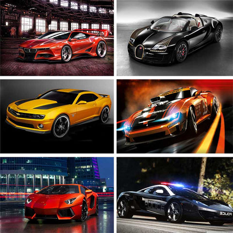 Luxury Sports Car Diamond Painting Kit | Full Round/Full Square Drill | DIY Rhinestone Embroidery | Lamborghini Ferrari Bugatti Camaro -Diamond Painting Kits, Diamond Paintings Store