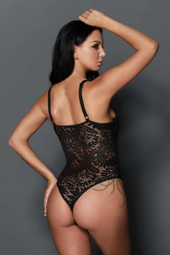 Black sexy lace push up bodysuit