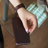 leather band apple watch 40mm - ALLIGATOR brown - steel adapters