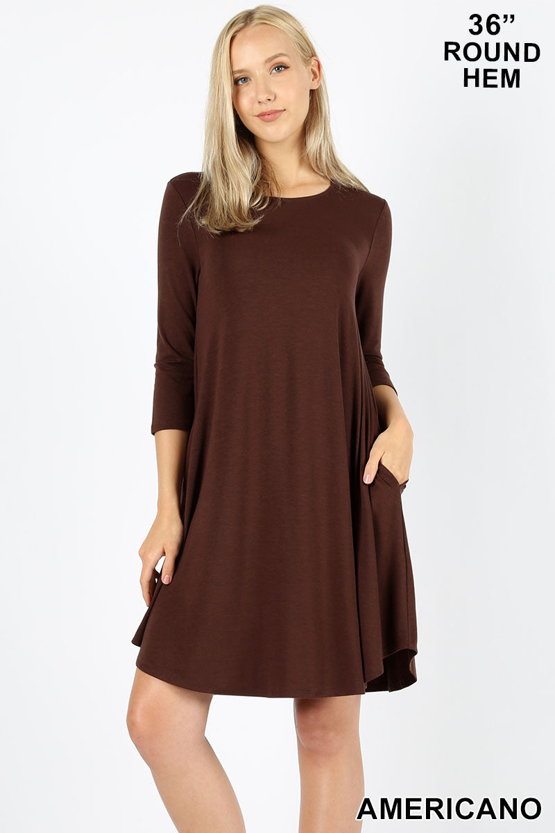 AMERICANO - 3/4 SLEEVE ROUND HEM A-LINE DRESS WITH SIDE POCKETS