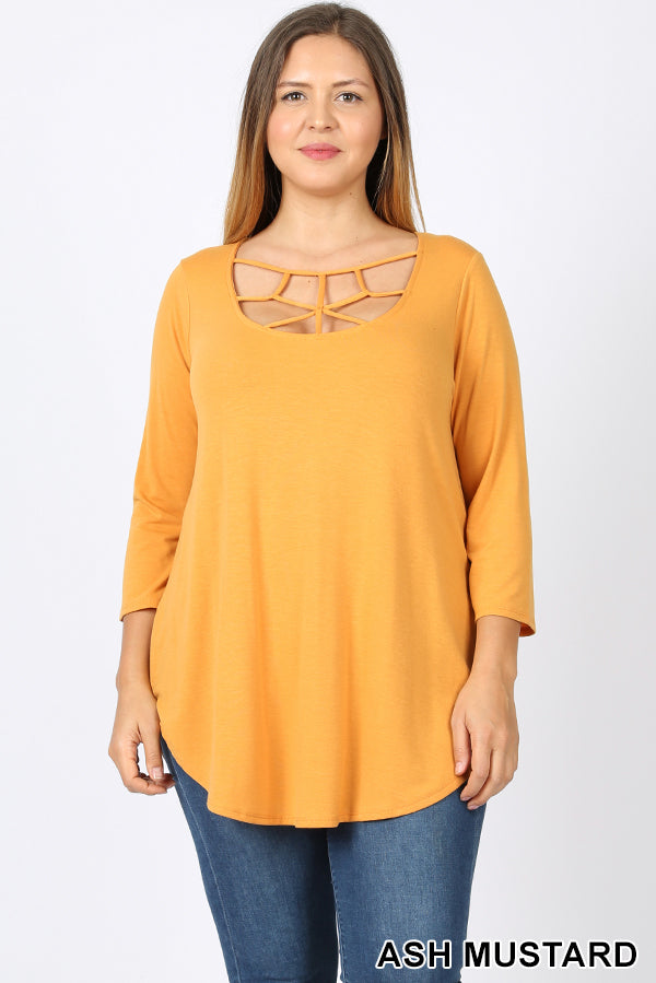 ASH MUSTARD - PLUS PREMIUM FABRIC 3/4 SLEEVE WEB DETAIL FRONT ROUND HEM TOP