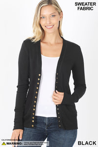 BLACK - SNAP BUTTON SWEATER CARDIGAN