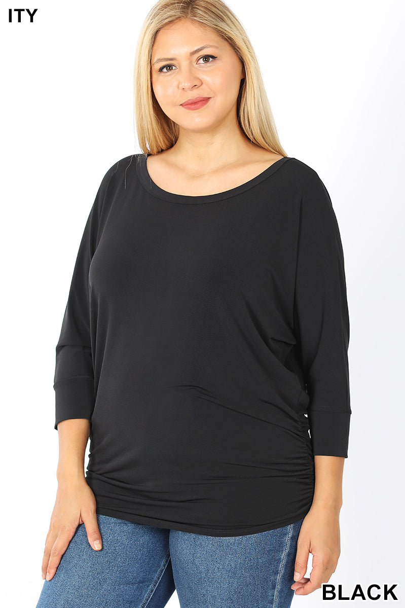 BLACK - PLUS BOAT NECK DOLMAN 3/4 SLEEVE W/SIDE RUCHED TOP