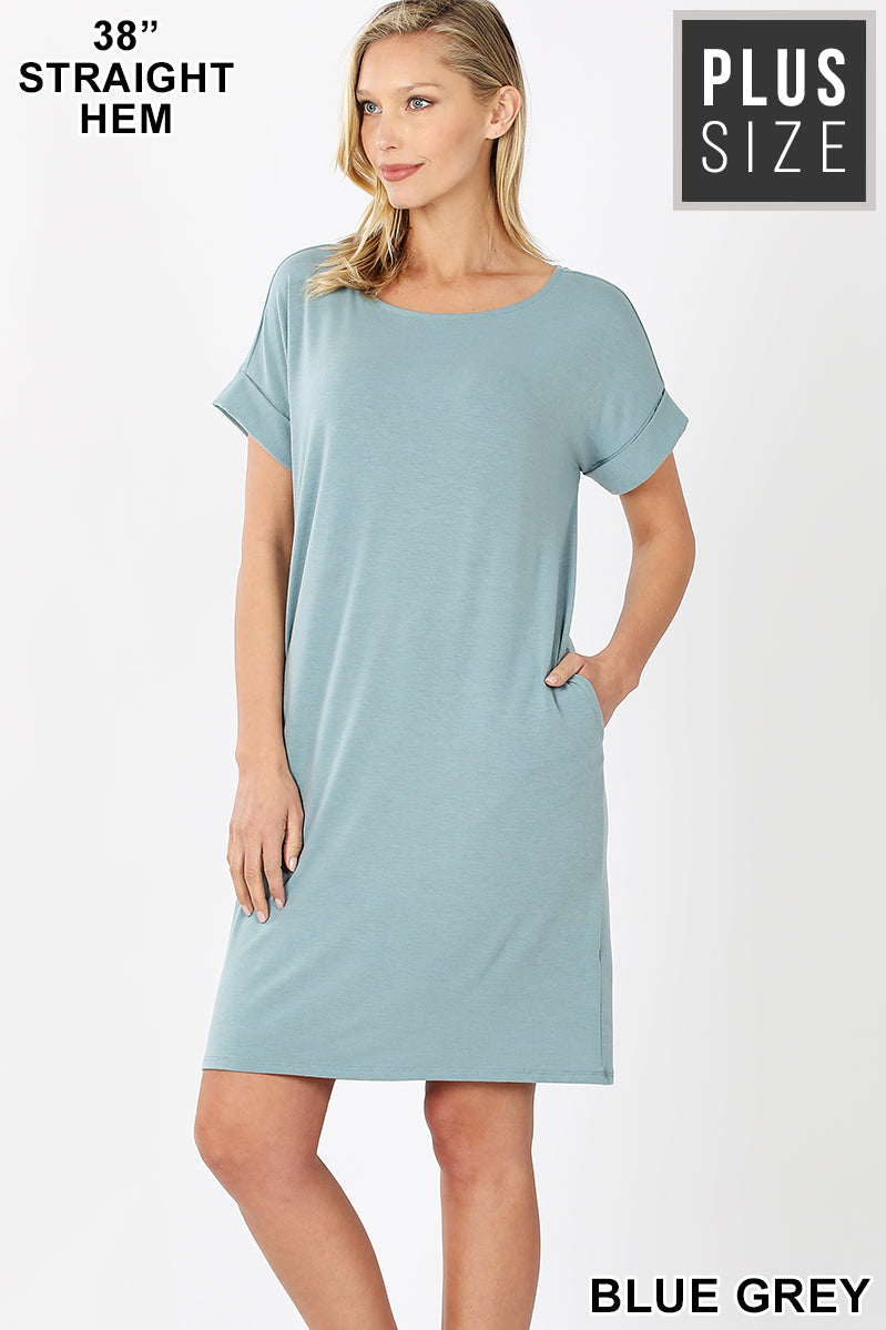 PLUS ROLLED SHORT SLEEVE ROUND NECK DRESS