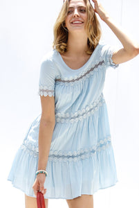 Short sleeve ruffle lace trim detail dress