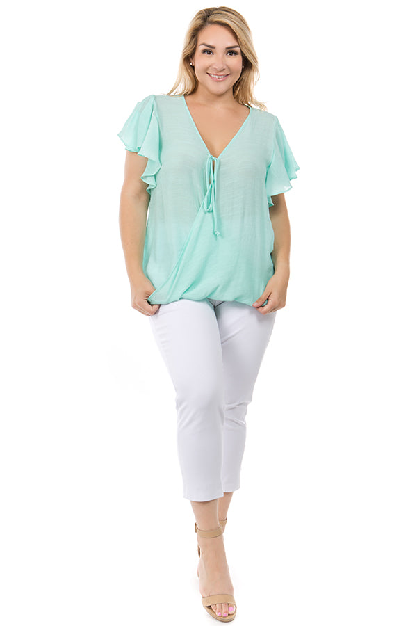 MINT - CRISS CROSS RUFFLE SLEEVE BLOUSE