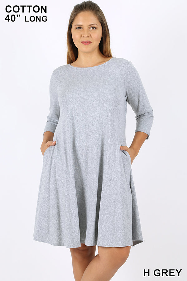 GREY - 3/4 SLEEVE CLASSIC A-LINE DRESS WITH SIDE POCKETS