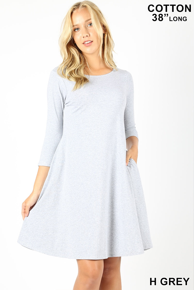 HEATHER GRAY - 3/4 SLEEVE CLASSIC A-LINE DRESS WITH SIDE POCKETS