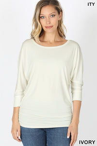 IVORY - BOAT NECK DOLMAN 3/4 SLEEVE WITH SIDE RUCHED TOP