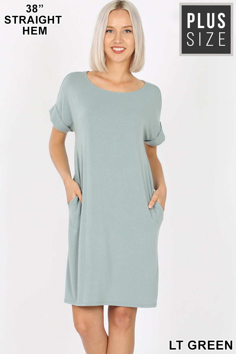 LT GREEN - PLUS ROLLED SHORT SLEEVE ROUND NECK DRESS