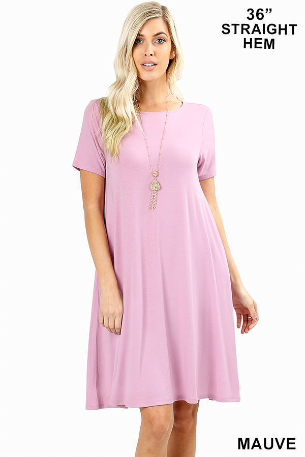 MAUVE - SHORT SLEEVE FLARED DRESS WITH SIDE POCKETS
