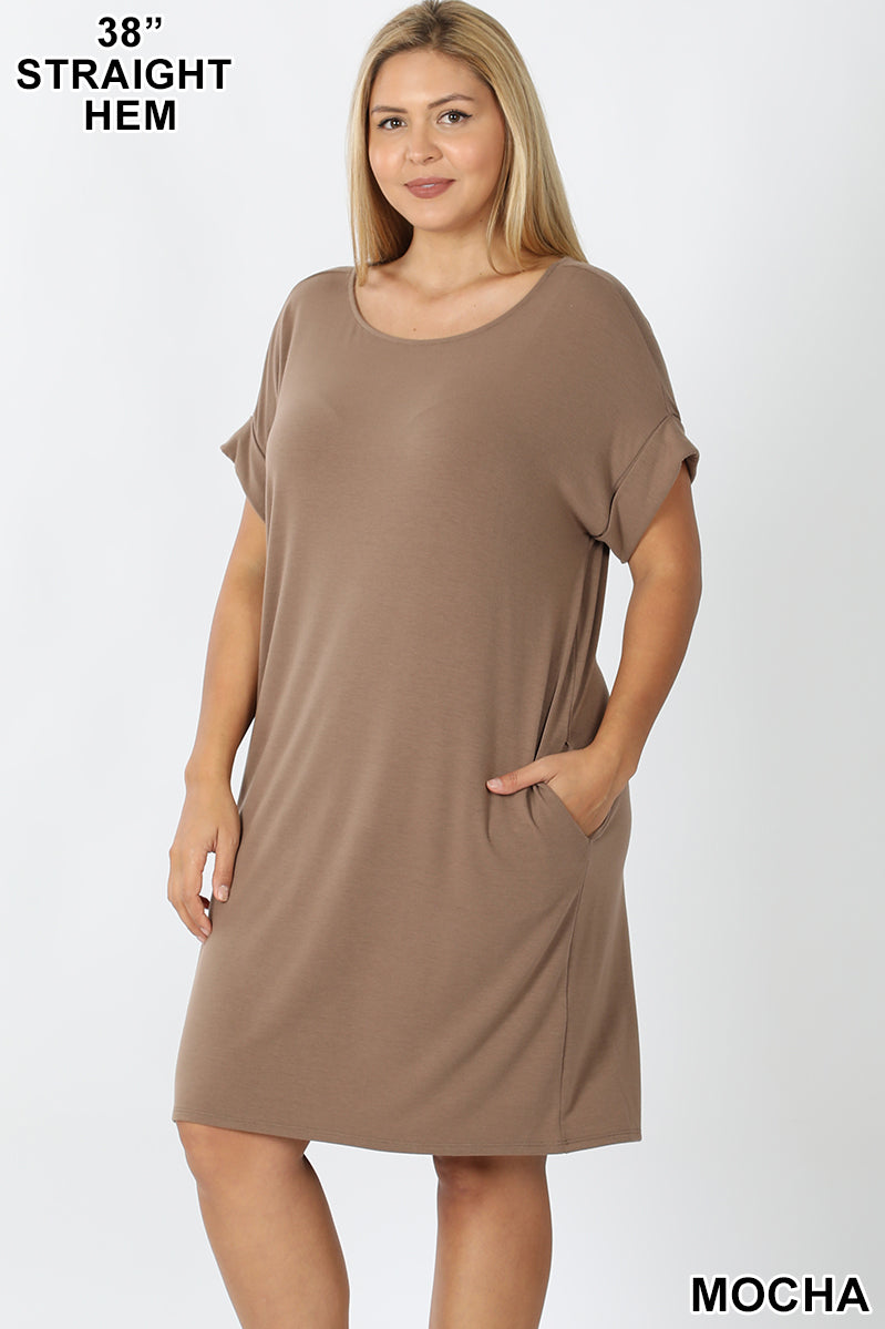 MOCHA - PLUS ROLLED SHORT SLEEVE ROUND NECK DRESS