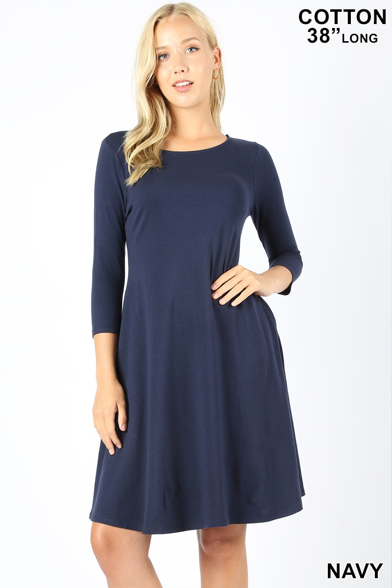 NAVY - 3/4 SLEEVE CLASSIC A-LINE DRESS WITH SIDE POCKETS
