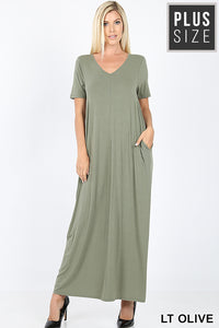 LT OLIVE - -NECK SHORT SLEEVE MAXI DRESS WITH SIDE POCKETS