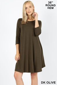 DK OLIVE - 3/4 SLEEVE ROUND HEM A-LINE DRESS WITH SIDE POCKETS