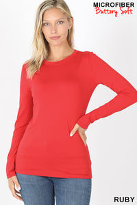 RUBY - BRUSHED MICROFIBER LONG SLEEVE ROUND NECK TEE
