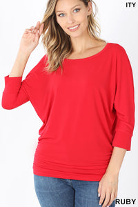RUBY - 3/4 SLEEVE WITH SIDE RUCHED TOP