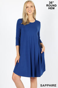 SAPPHIRE - 3/4 SLEEVE ROUND HEM A-LINE DRESS WITH SIDE POCKETS