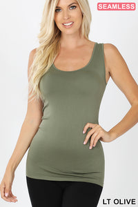 LIGHT OLIVE - SCOOP NECK SEAMLESS TANK TOP
