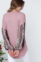 Load image into Gallery viewer, Mauve Burgundy Puff Sleeve Top