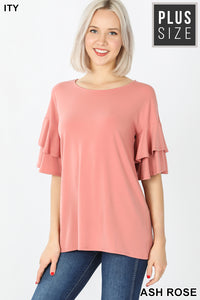 ASH ROSE -  DOUBLE RUFFLE SLEEVE TOP