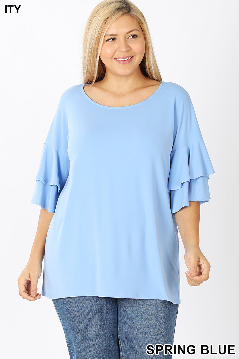 MINT DOUBLE RUFFLE SLEEVE TOP