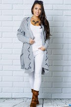 Oversize Fit Ribbed Hem Cardigan