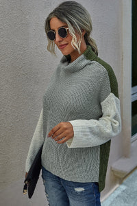 Grey - Color Block Collared Knit Sweater