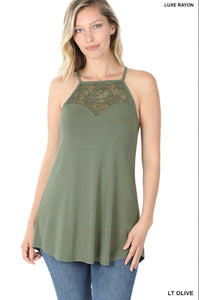 LACE-PANELED HIGH-HALTER TANK TOP (Lt. Olive)