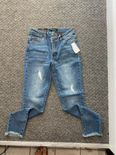 Load image into Gallery viewer, VINTAGE MEDIUM BLUE - SKINNY JEANS W/OFFSET BUTTON