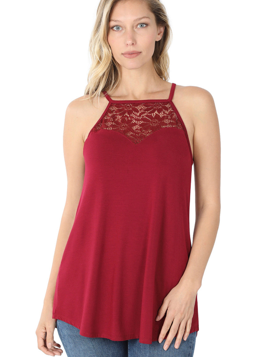 LACE-PANELED HIGH-HALTER TANK TOP (CABERNET)