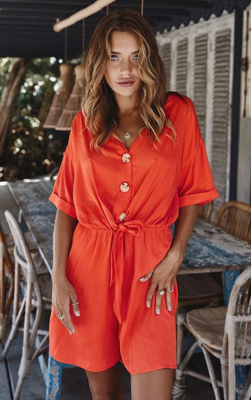 Coral V Neck Button Down Romper