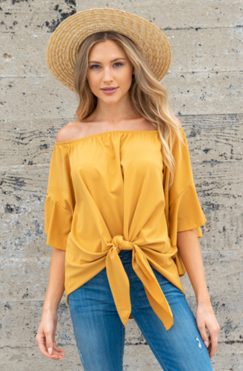 Off Shoulder Ruffle Hi Low Hem Blouse