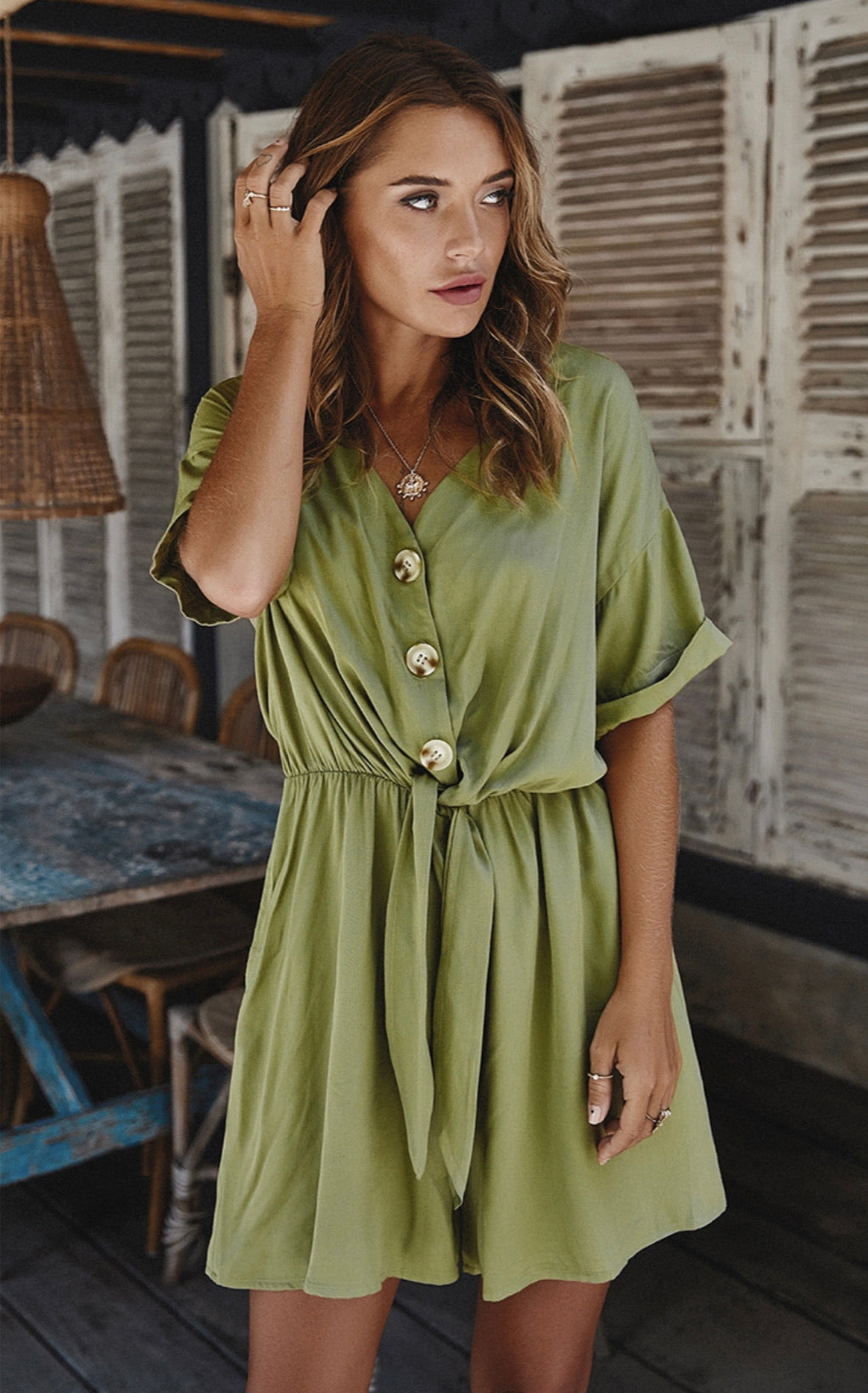 Green V Neck Button Down Romper