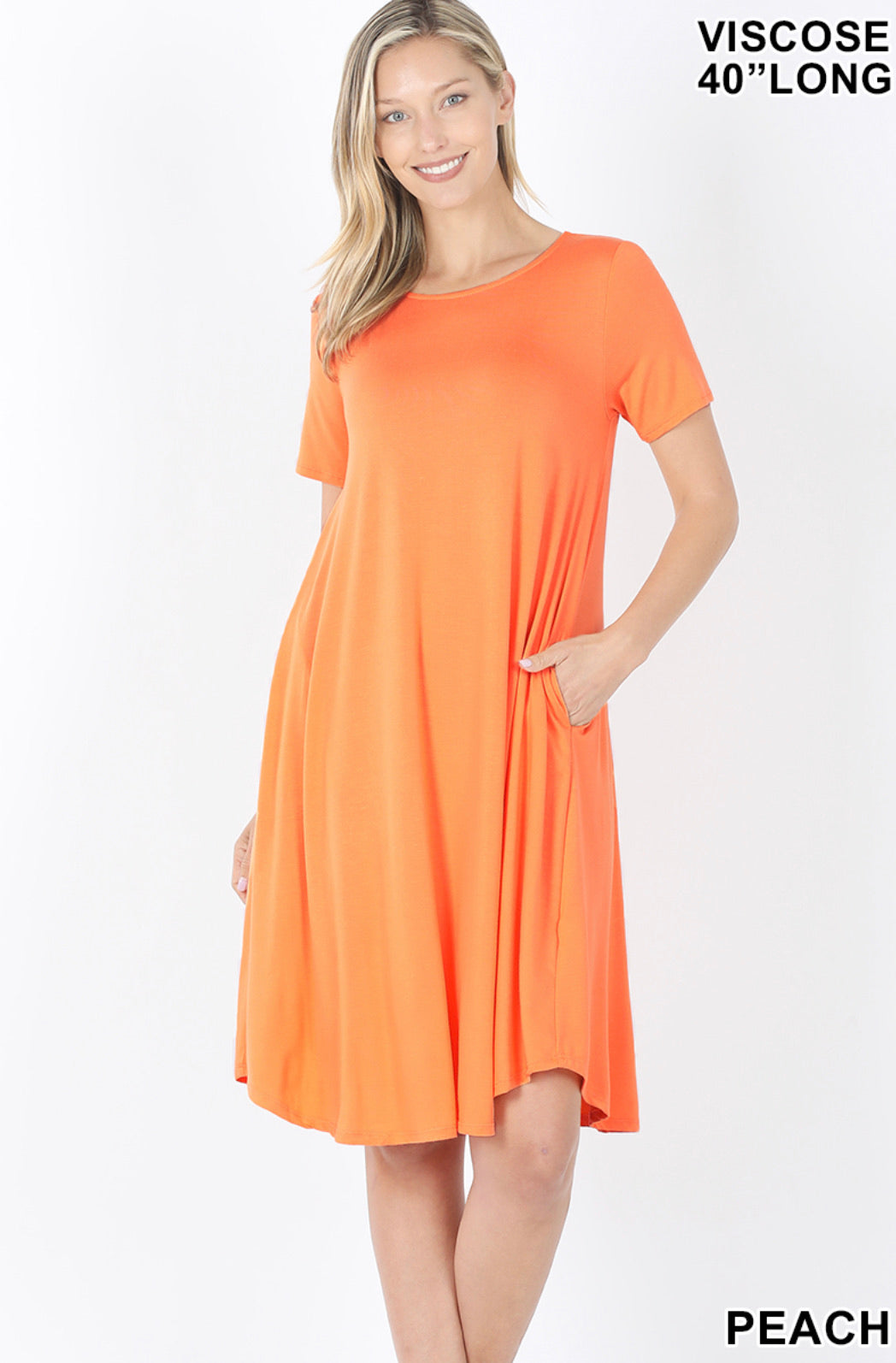 PEACH SHORT SLEEVE ROUND NECK DRESS