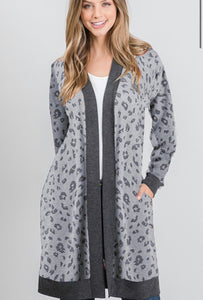 Gray Animal Print Cardigan