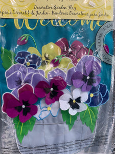 Pansy Flower Pot Garden Flag