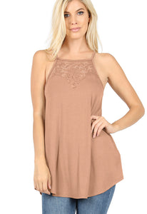 LACE-PANELED HIGH-HALTER TANK/TOP (EGG SHELL)