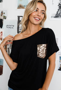 BLACK WITH GOLD SEQUENCE POCKET TOP