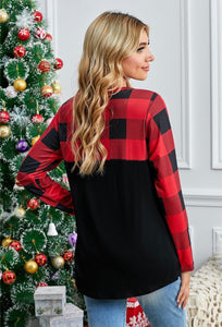 Black and Red Buffalo Plaid Sequin Pocket