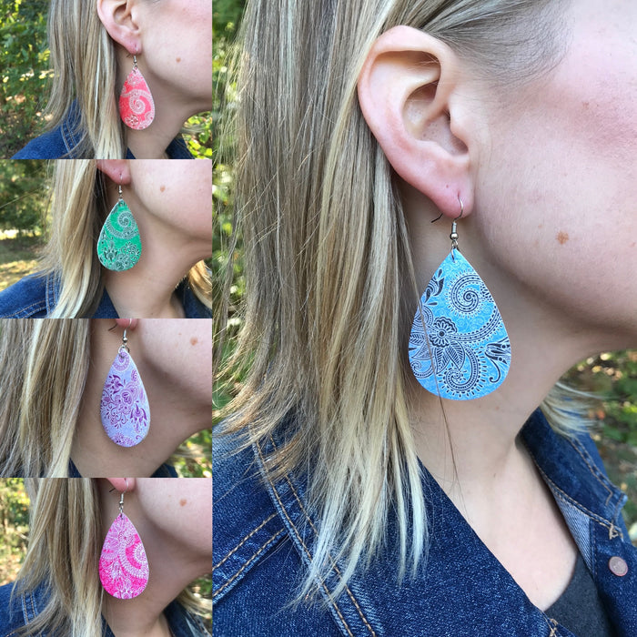 Paisley Tear drop Dangle Earrings
