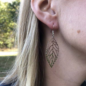 Light as air Large Silver Leaf Earrings
