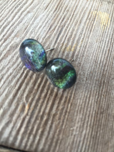 multi dark stud glass earring