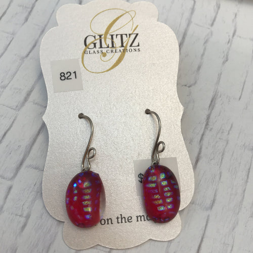 Red Oval Speckled Earrings