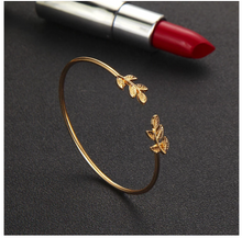 Load image into Gallery viewer, Leaf gold cuff bracelet