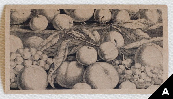 """Fruit: August"" greeting card art shows a black (on kraft paper) engraving of fruit"