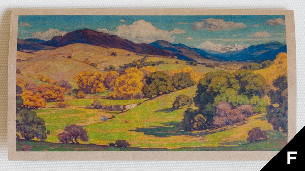 """California Landscape"" greeting card features art depicting rolling hills, trees, and clouds in the sky, originally an oil painting (full color printed on kraft paper)"