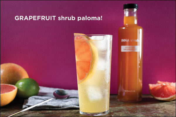 Grapefruit shrub paloma! 1.5 ounces of tequila with 1 ounce marsh ruby grapefruit shrub plus 4 ounces sparkling water.