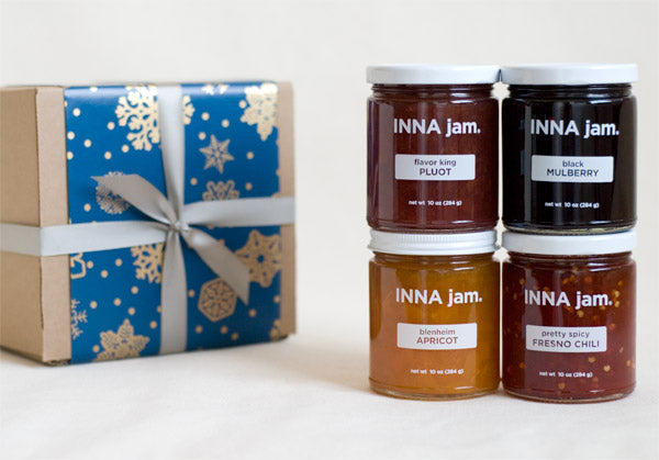 GIFT: 4 jars of jam + SNOWFLAKES! gift wrap (choose your flavors)